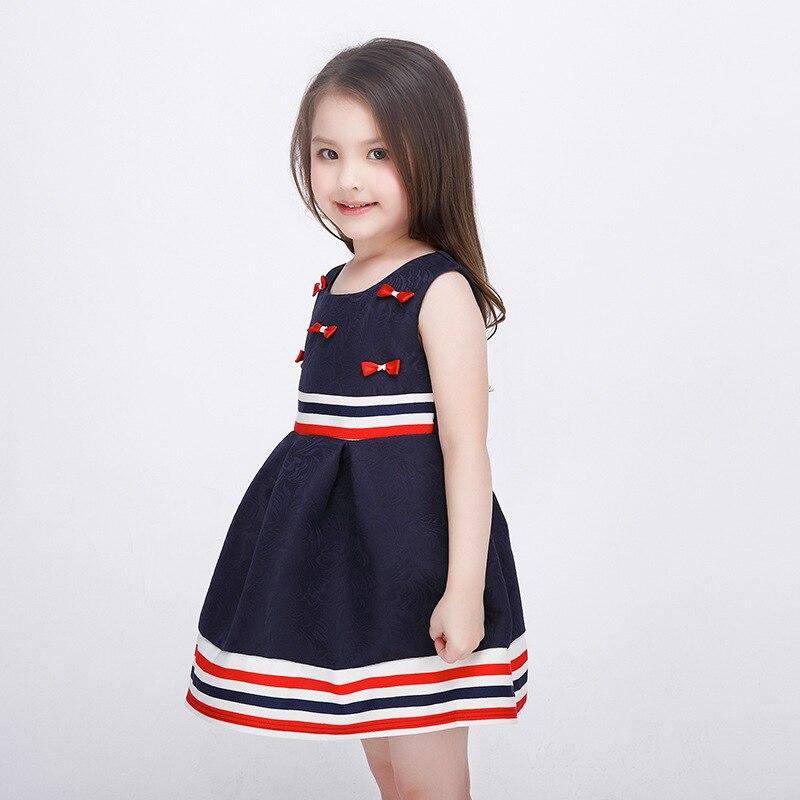 e6e702a3e Dark Blue Girls Dress Summer For Teenagers Stripes Children Party ...