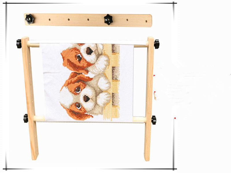 40*40cm Adjustable Hand Turn Rotating Wooden Tapestry Cross Stitch Embroidery Frame Sewing Craft Tool Chinese Cross Stitch Kit