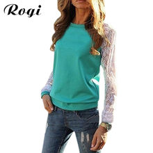 Rogi Blusas 2018 Fashion Women Long Sleeve Lace Patchwork Blouses Casual Tunic Tee Shirts Jumper Tops Poleras Mujer Plus Size(China)