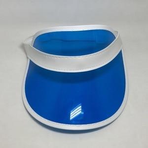 Image 4 - Sombreros ajustables de plástico PVC transparente para mujer, visera Multicolor, gorros de fiesta para playa, protección UV, 8 unidades por lote