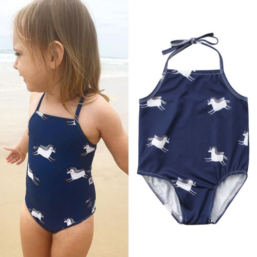 Kid Baby Girl Horse Printed Halter Tankini Bikini Swimwear Swimsuit Bathing Suit Beachwe ...