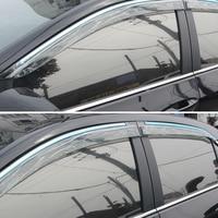 For Toyota Corolla E170 Sedan 2013 2017 Car Windows Visor Sun Rain Shield Guard Deflector With Glossy Bar Cover Trim Car Styling