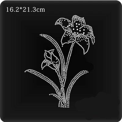 2pc lot flower iron on transfers motif hot fix rhinestone iron on crystal  transfers design rhinestones fix patch d07df9dcd227