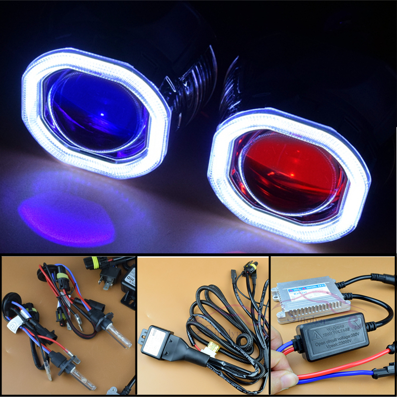 Sinolyn Upgrade 8.0 Car LED COB Angel Eyes Halo Bi xenon Headlight Lens Projector DRL Devil Demon Eyes H1 H4 H7 Kit Retrofit DIY