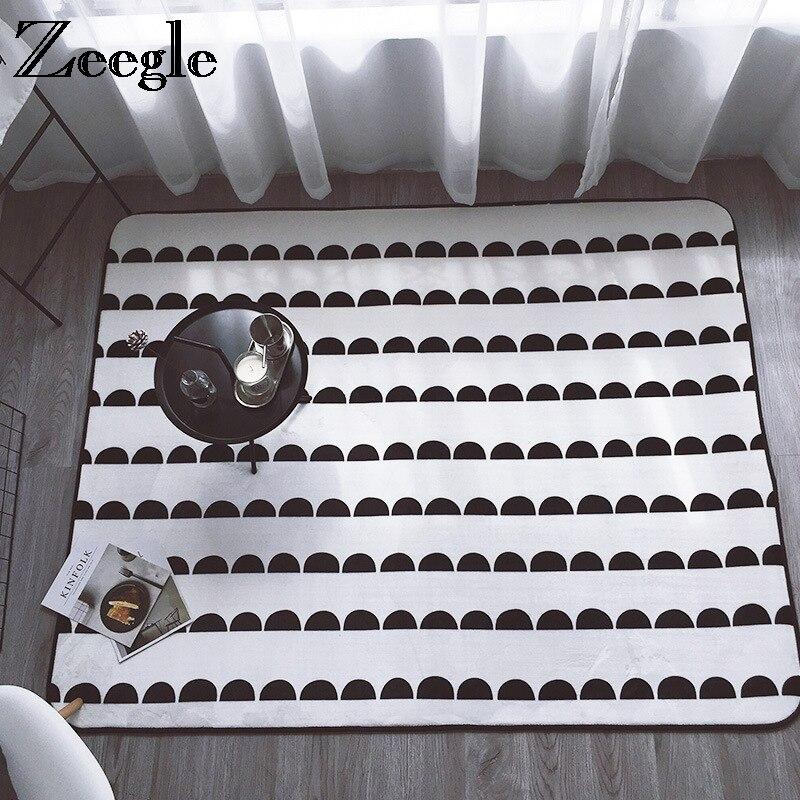 Zeegle Geometric Carpets For Living Room Kids Bedroom Carpet Non-slip Baby Play Mats Bedside Rug Flannel Coffee Table Floor Mats