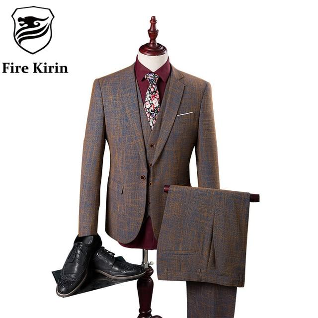 Fire Kirin Wedding Suits For Men Slim Fit Suits 2017 British Style Mens 3 Piece Suits Luxury Brand Brown Jacket Pants Vest Q84