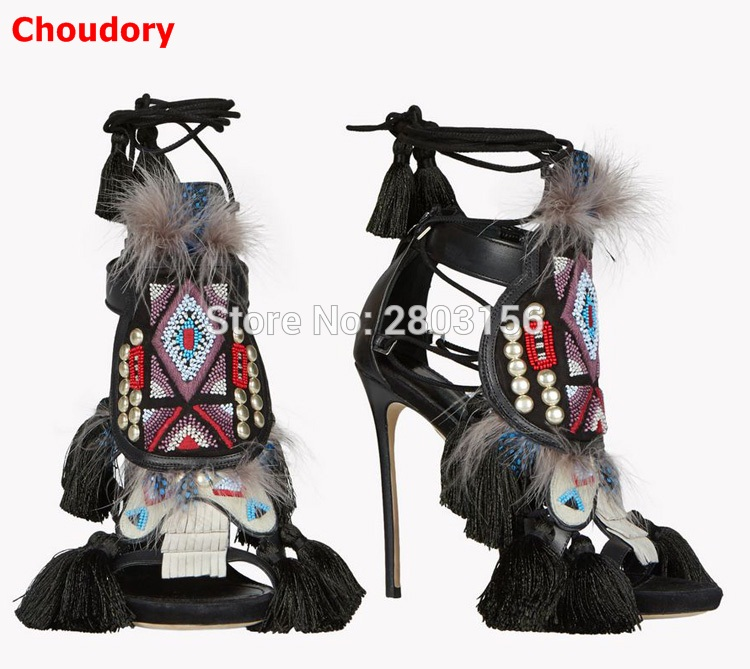 Hot Sale Lace Up Fringed Gladiator Sandals Women Pumps High Heels Stiletto Feather Crystal Summer Shoes Sandalias Mujer hot brand grid open toe high heels gladiator sandals women pumps lace up cut out summer ankle boots shoes woman sandalias mujer