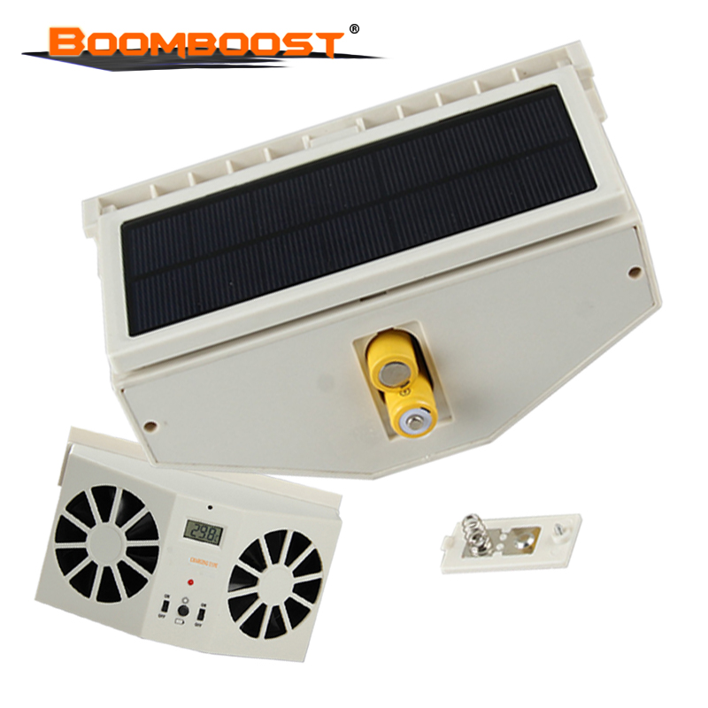 newly Portable Solar Sun Power 2W Car Auto Air Vent Cool Fan Cooler Ventilation System Radiato with Display Without battery