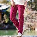 2016 Nuevo Algodón de lino Sólido Elástico de la cintura de Las Mujeres Pantalones Pantalones de Verano Delgado Ocasional de la Marca de Alta calidad Blanco Rojo Pantalones B104