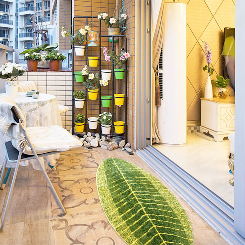 Creative Fashion Green Leaf Floor Mat Anti Slip Microfiber Water Absorption Rug