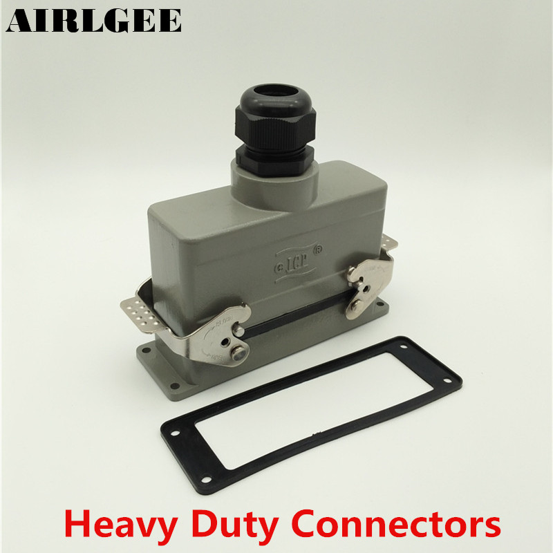 Vertical PG21 Entry Hood 24 Pin Rectangle Heavy Duty Connector Aviation Connector 16A 500V Free shipping heavy duty connectors hdc he 024 1 f m 24pin industrial rectangular aviation connector plug 16a 500v