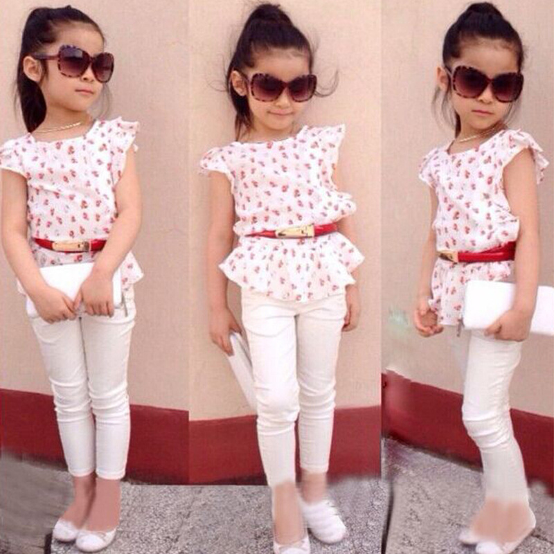 Children 39 s clothing Summer girl Europe and the United States fresh small Floral Chiffon Sleeveless Top cotton trousers belt in Clothing Sets from Mother amp Kids