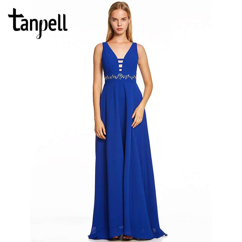 Tanpell v neck long evening dress dark royal blue sleeveless floor length a line gown women beaded empire formal evening dresses