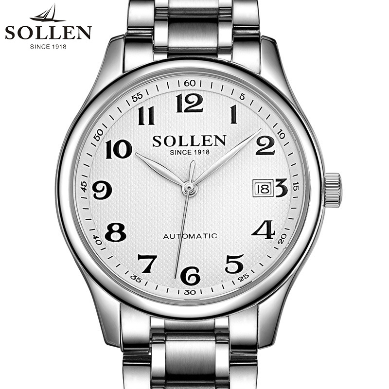 SOLLEN Automatic Mechanical Watch Men Relogio Masculino leather watches Leisure Waterproof Steel Strap male wristwatches 9002 the new genuine automatic mechanical male watch belt men s watches male waterproof fashion business leisure watch