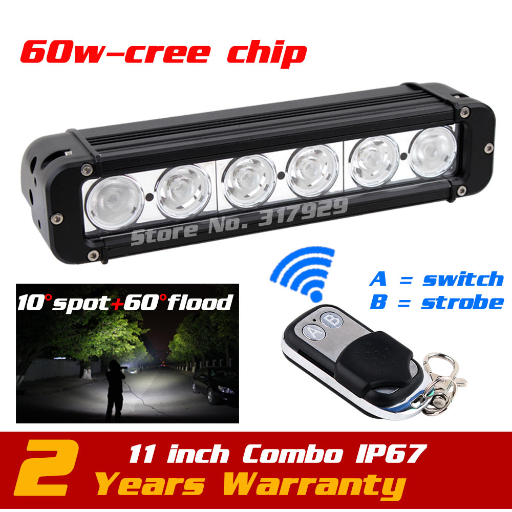 11'' 60W LED Work Light Bar Wireless Remote with Strobe Light Tractor ATV Offroad Fog light  Bar External Light Save on 72w 11 60w led work light bar wireless remote with strobe light tractor atv offroad fog light bar external light save on 72w
