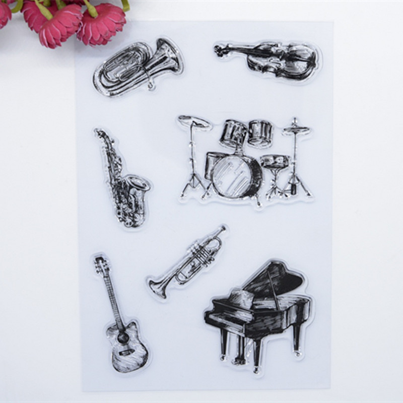 2017 new 15.5x22cm Musical instruments Scrapbook DIY Photo Album Account Transparent Silicone Rubber Clear Stamps