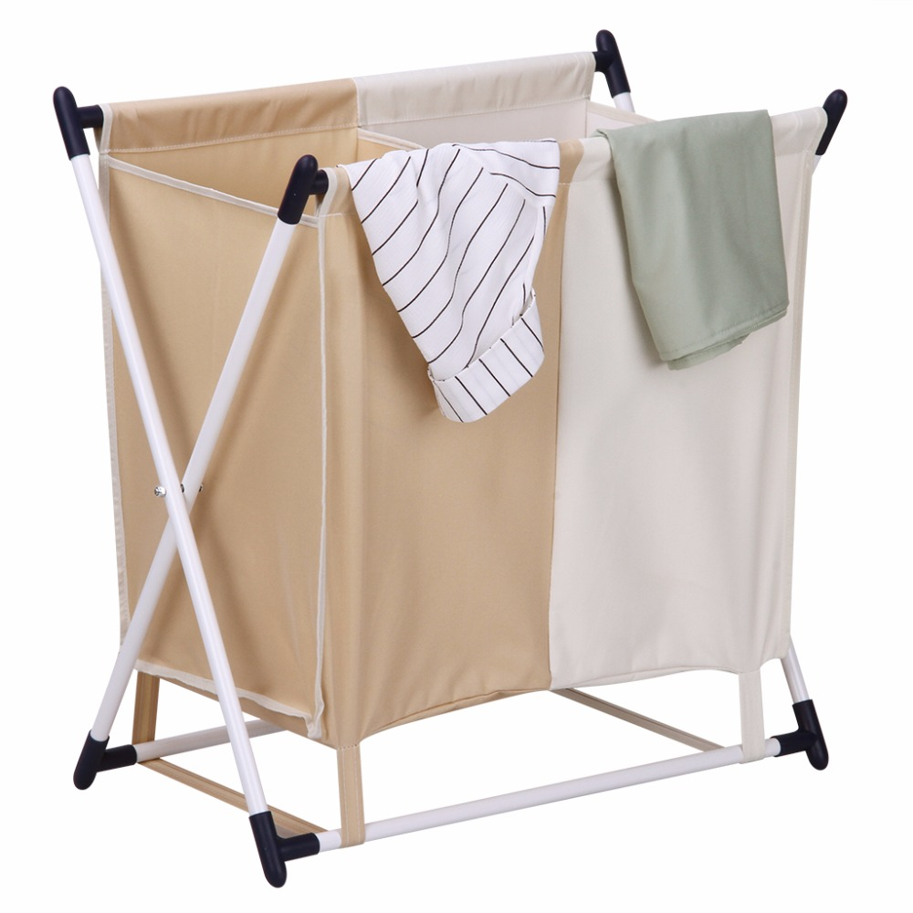 Finether Folding Laudry Hamper X Frame Laundry Sorter Stand 2 Compartment Detachable Bag For Clothes Storage Organization In Baskets From