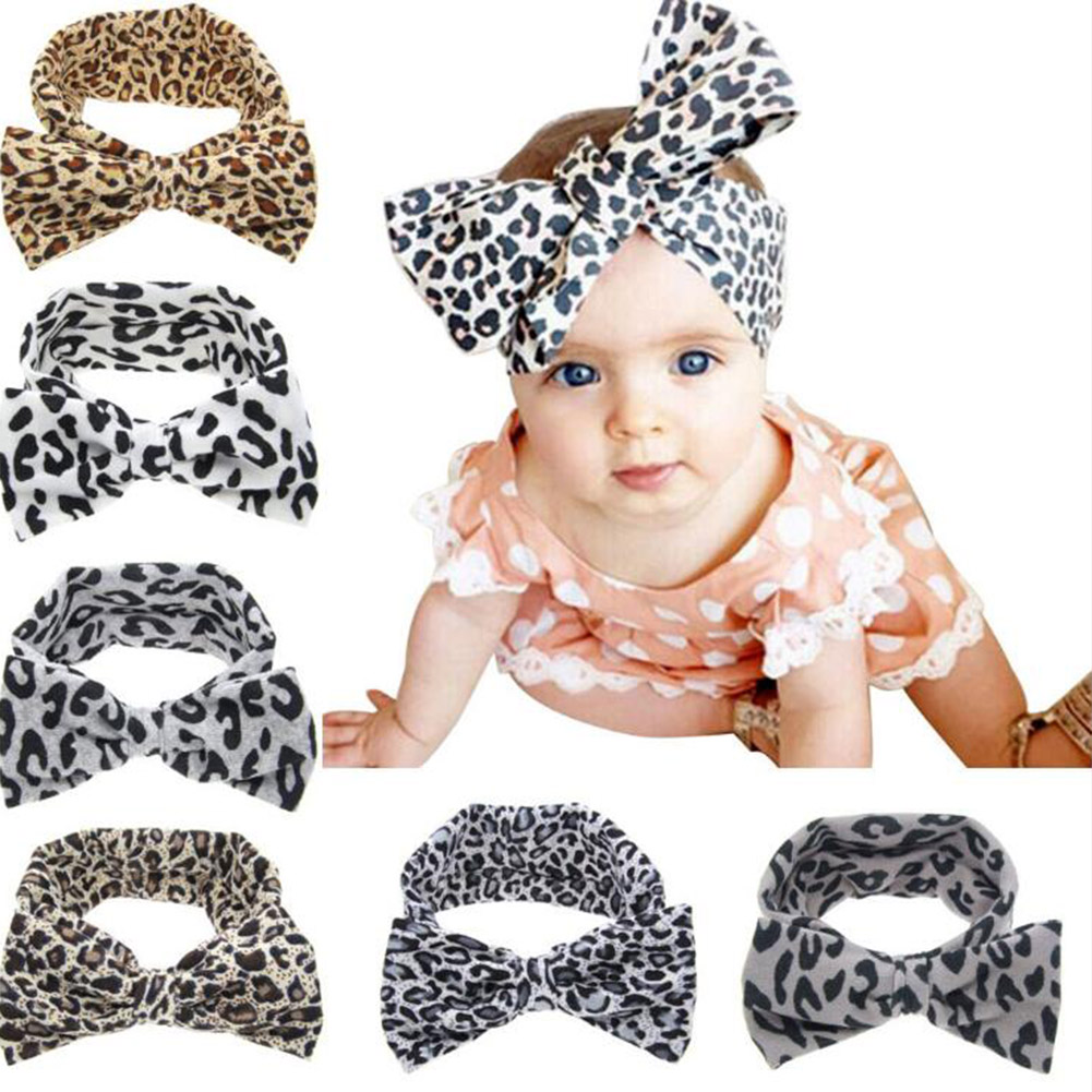 Toddler Baby man Girls Leopard Sequins Big Glitter Hair Bow Kid Baby Nylon Bow Hairband Headband Stretch Turban Knot Head Wrap(China)