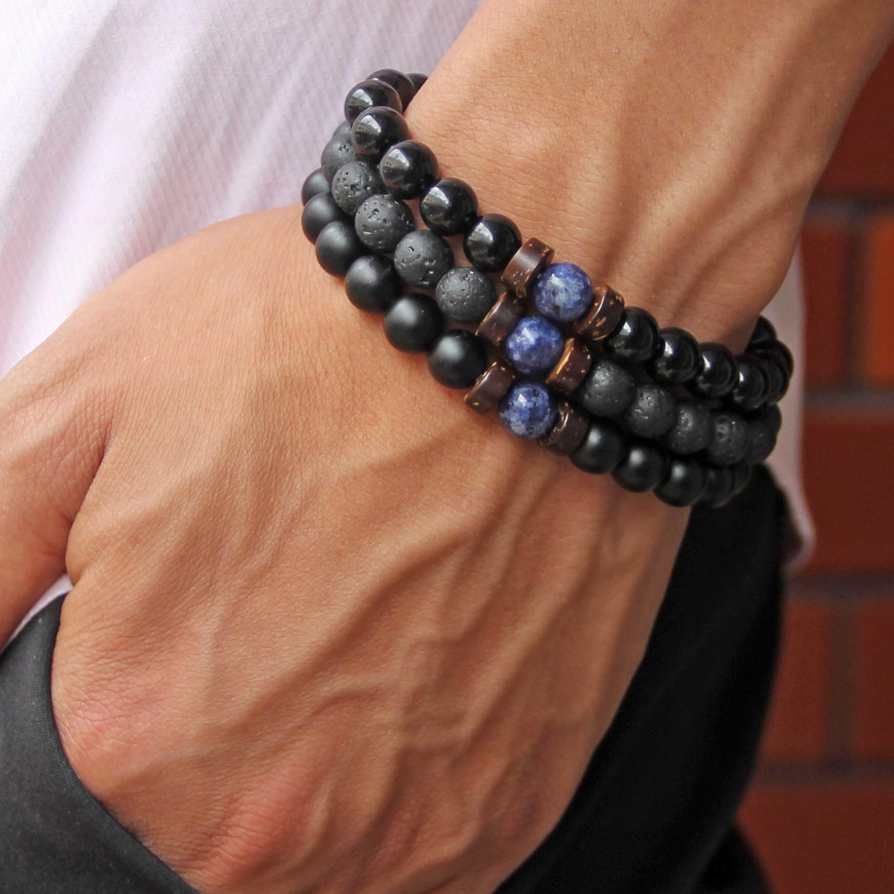 ธรรมชาติหินลาวาสร้อยข้อมือลูกปัดไม้อุปกรณ์เสริม Lapis Lazuli Jades สร้อยข้อมือผู้ชาย/ผู้หญิงเครื่องประดับของขวัญ