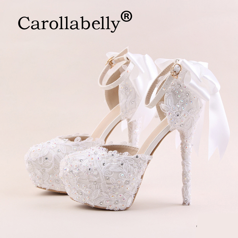 Carollabelly New Arrival Women Fashion Sweet Pumps White Flower Lace Platform High Heels Pearls Wedding Shoes Bride Dress Shoes