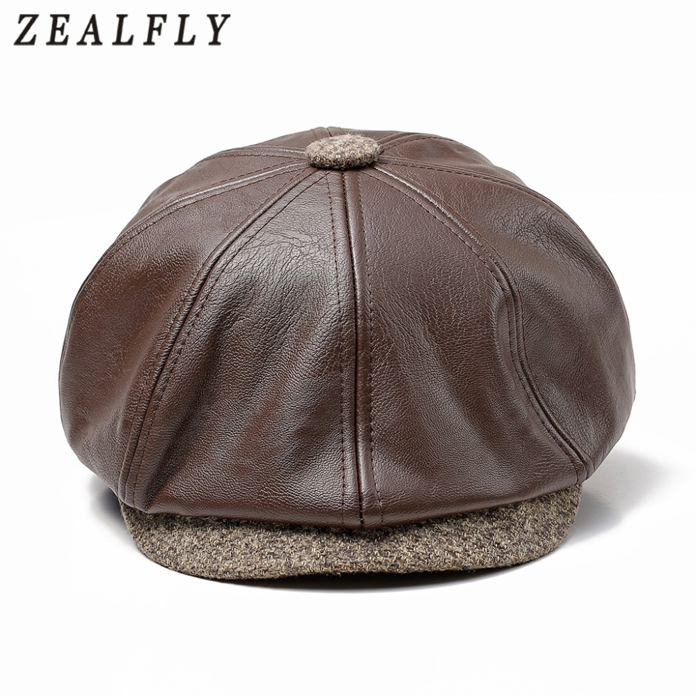 69d28c68b8c Winter Autumn Artificial PU Leather Beret Hats Vintage British Newsboy Caps  Unisex Men Women Flat Visor Cap Casual Octagonal Cap