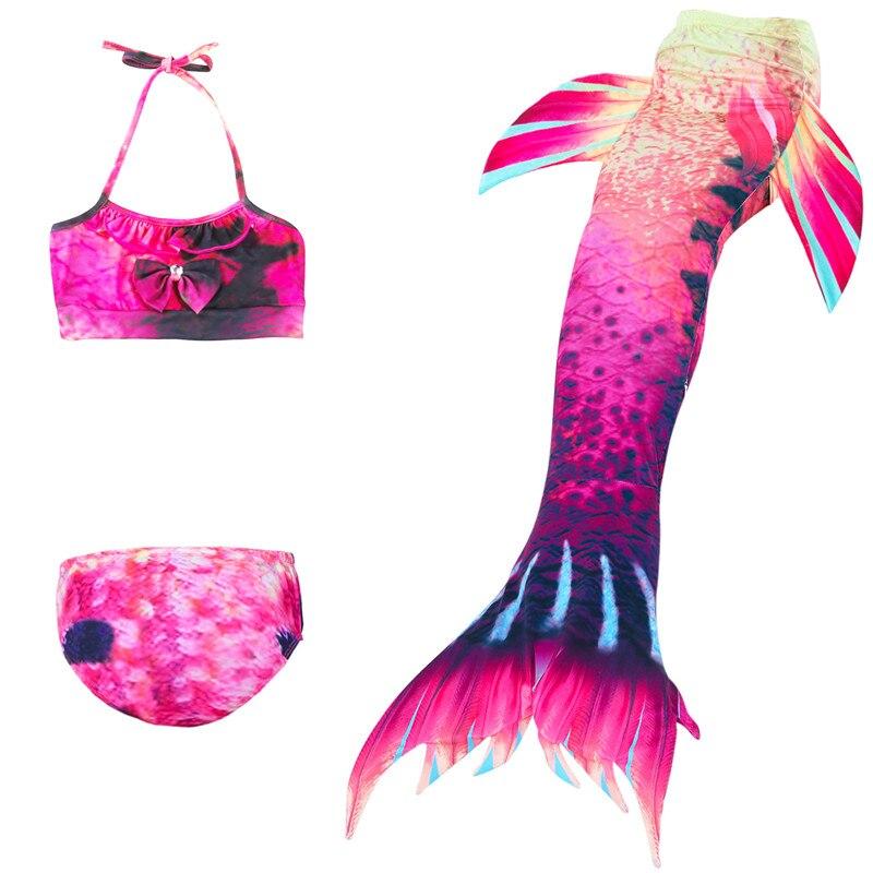 Little Mermaid Tails For Swimming Girls Swimsuit Kids Children Swimmable Suit Bikini Bathing Fancy Wear No Monofin