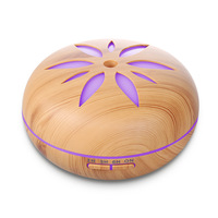 500ML Aromatherapy Essential Oil Diffuser Colorful LED Lights Wood Grain Aroma Diffuser Ultrasonic Cool Mist Air
