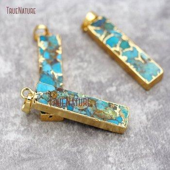 Rectangle Mosaic Turquoises Howlite Bar Charm Pendant Gold Dipped Blue Stone Pendant PM26808