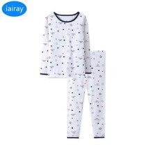 iairay boys cotton fabric long johns thermal underwear set spring pajamas for autumn winter bottoming shirt sleep pants