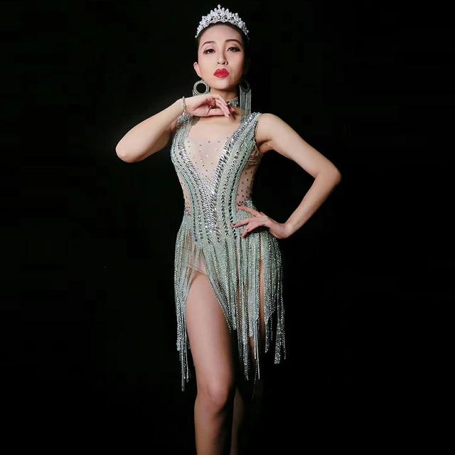 96c84582c8 Female Singer Stage Costume Women Jumpsuits Water Diamond Tassel Dance  Outfit Jazz DJ DS Show Wear Performances Sexy Bodysuit