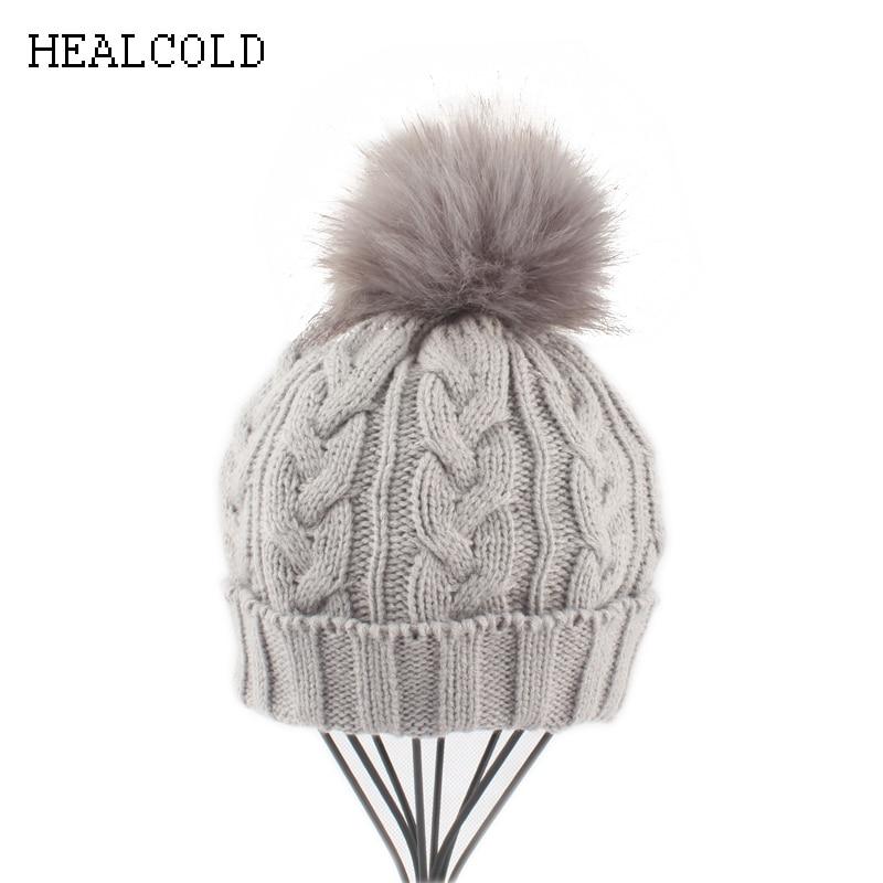 2018 New Fur Pom pom   skullies     beanies   Kids Winter Hats Girls Boys Warm Knitted Ponytail Hat