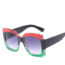2018 New Luxury Brand Designer Oversized Big Women Mirror Sexy Clear Sunglasses Lady Red Green Shades Crystal Sun Glasses fashionable women s sexy style necklace w crystal inlaid golden
