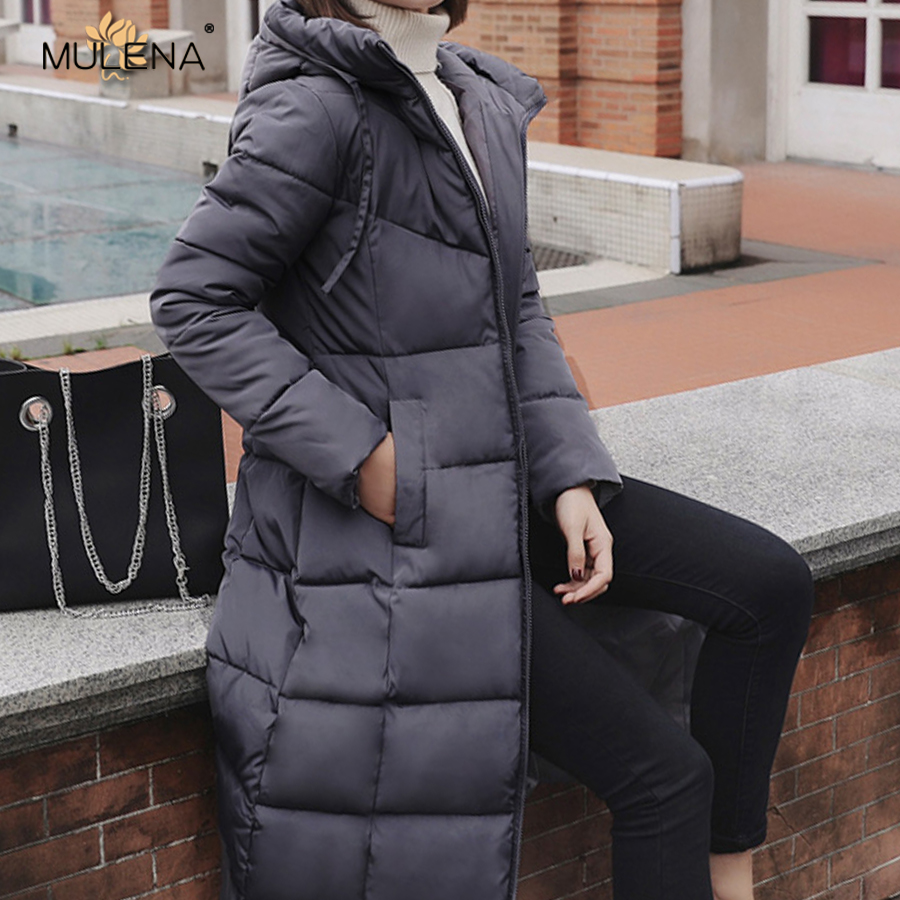 Mulena slim thick hooded long   down     coat   women solid zipper pockets office lady   coats   plus size warm outerwear female winter