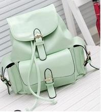 Fashion 2015 PU Leater Backpacks Female Travel Multi-pocket multifunctional Bags Japan and Korean Style Girl's Bag