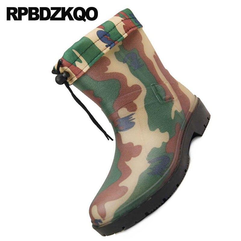Automne Doublé Hiver Slip Bottes camouflage Caoutchouc Chaussures Pas Cheville Pvc Rainboots Chaussons Gris Camouflage Sur Size Hommes Plus Cher De Fourrure Pluie En Étanche n8xvwI