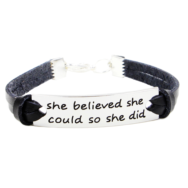 Us 9 66 21cm Black Real Leather Bracelet Inspiration Quote She Believed Could So Did Cuff Bracelets For Women And Men In Charm
