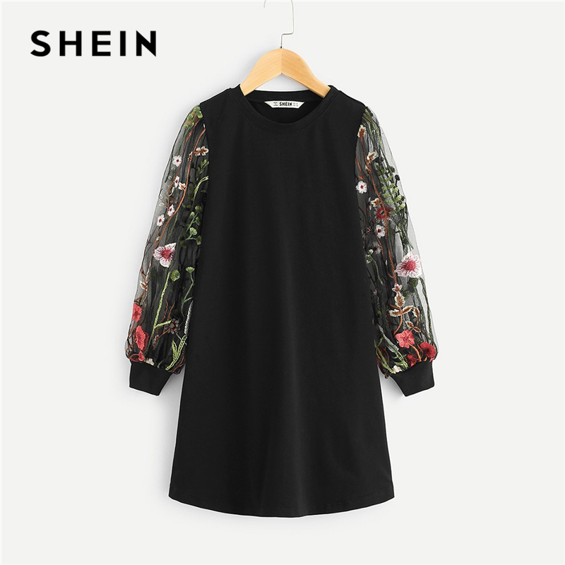 SHEIN Black Girls Mesh Long Embroidered Sleeve Tunic Casual Dress Girls Clothing 2019 Spring Korean Straight Mini Girls Dresses
