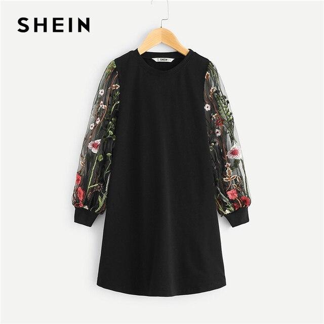 SHEIN/черная сетчатая туника с длинными рукавами и вышивкой для девочек, повседневное платье, одежда для девочек, весна 2019, корейские прямые мини-платья для девочек