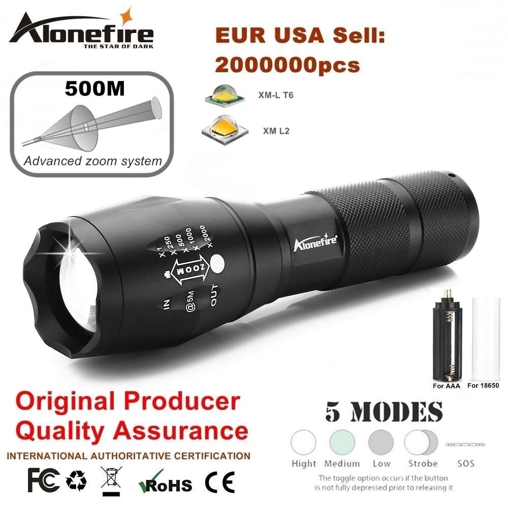 Potente linterna G700 Cree XML T6 U3 led Aluminio Impermeable Zoom Antorcha de camping Luz táctica AAA 18650 Batería recargable