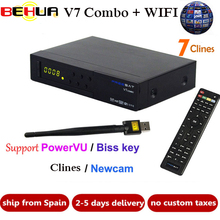 [Genuine] V7 Combo receptor HD Satellite TV Receiver +1 year 7 Clines DVB-S2 DVB-T2 Support PowerVu Biss Key Newcam DVB S2 T2