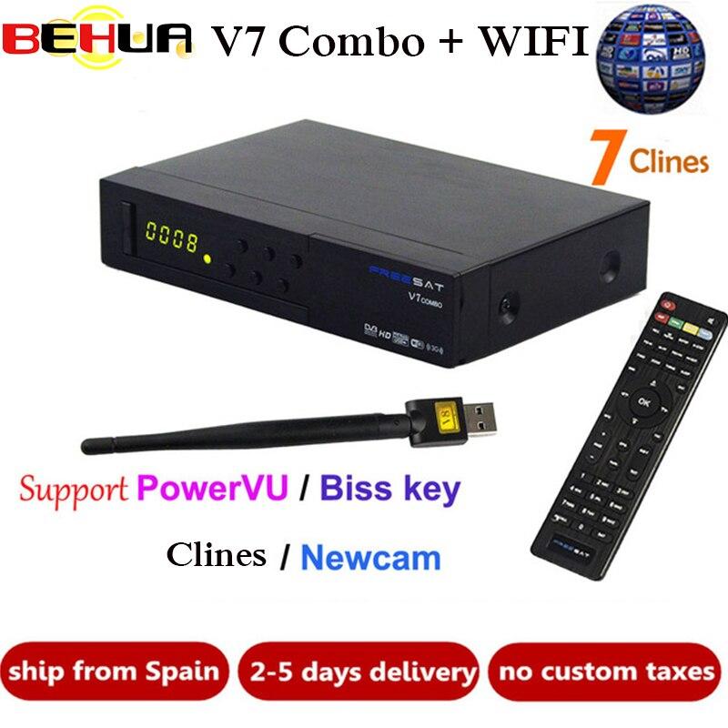 [Véritable] V7 Combo récepteur HD Satellite TV Récepteur DVB-S2 DVB-T2 Soutien PowerVu Biss Key Newcam DVB S2 T2 + 1 année 7 Clines
