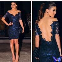 2015 Celebrity Dresses Sheath V Neck Half Sleeves Navy Blue Lace See Through Short Red Carpet