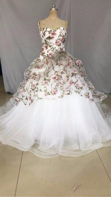 Sweetheart Floor length Wedding gown Watteau train Ball Gown Organza ...