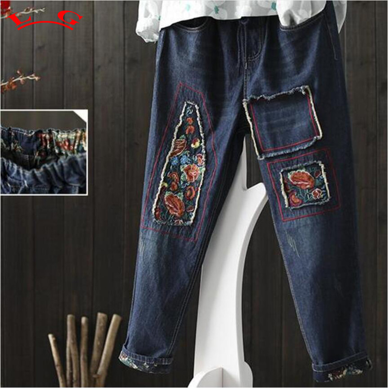 National wind stitch embroidery Drawstring waist denim pants pocket jeans spring 2017 national wind embroidery lace up neck dress