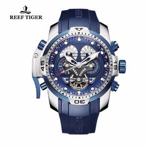Reef Tiger/RT Sport Military Watches for Men Rubber Strap Blue Watches Tourbillon Mechanical Watch Relogio Masculino RGA3503
