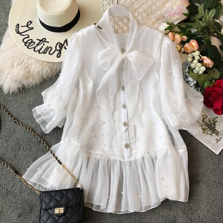 Romantique Et Femmes En Printemps 2019 Mujer De Perle Couverture gris Blusas D'été Nouvelles Moda Dentelle G355 Manches Noir Courtes blanc Mode 0BqwC5