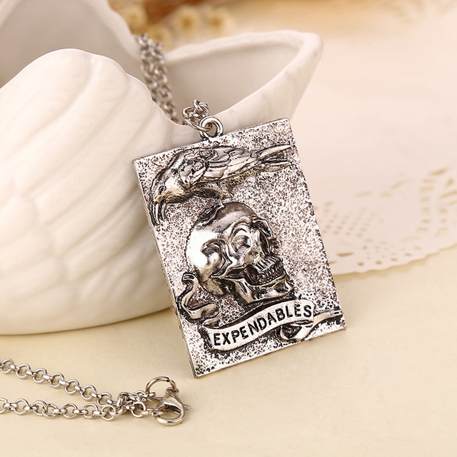 Expendables Skeleton Silver Pendant Necklace Men Jewelry