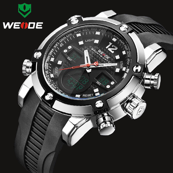 Relogio Masculino New WEIDE Brand Men Military Watch Sports Watches Men's Quartz LCD Digital Analog Clock PU Strap Wristwatch skm relogio 30 lcd 0002