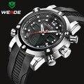 Relogio masculino Nova Marca WEIDE Homens Sports Watch Militares Relógios de Quartzo dos homens LCD Relógio Digital Analógico PU Strap Relógio de Pulso