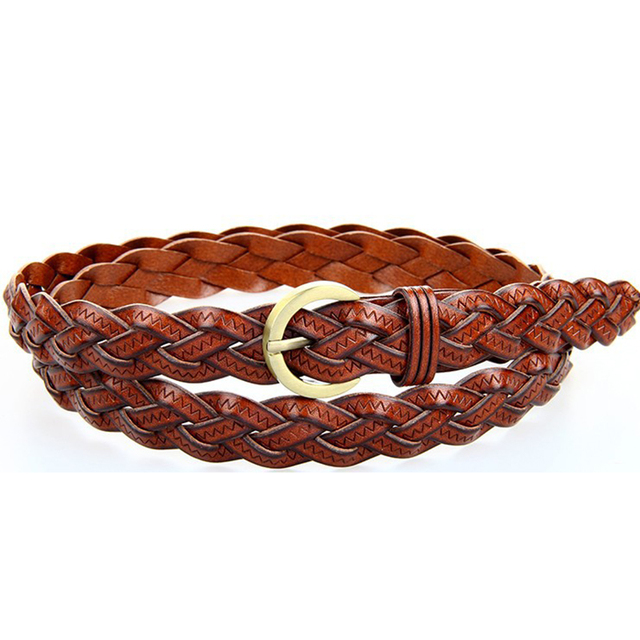 bf9be38ef9bd4 Top quality leather woven belt braided woman waist belt brown orange red  colors for girls